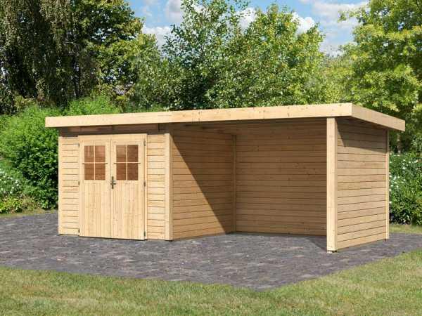 Gartenhaus SET Kerpen 2 CLASSIC 28 mm naturbelassen, inkl. 3,2 m Anbaudach + Seiten-/Rückwand