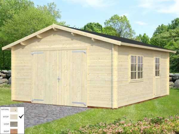 Garage Roger 23,9 m² mit Holztor 44 mm transparent tauchimprägniert