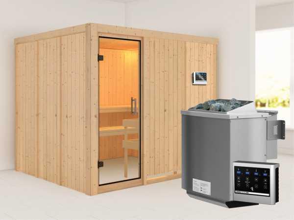 Sauna Systemsauna Gobin Klarglas Ganzglastür + 9 kW Bio-Kombiofen mit ext. Strg