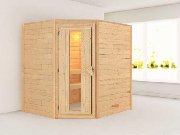 Sauna Massivholzsauna Mia Holztür mit Isolierglas