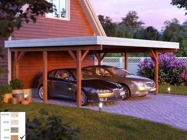 "Carport ""Karl"" 20,6 m² braun tauchimprägniert"
