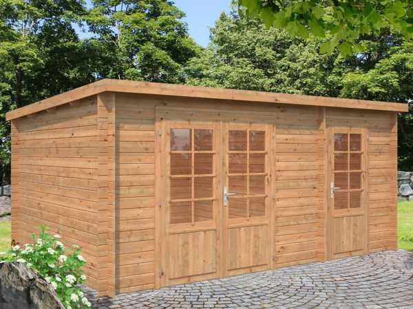 Gartenhaus Blockbohlenhaus Ella 13,1 m² 28 mm braun tauchimprägniert