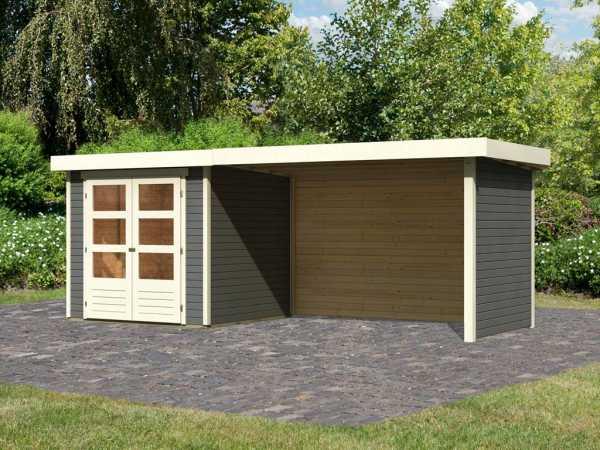 Gartenhaus SET Askola 2 19 mm terragrau, inkl. 2,8 m Anbaudach + Seiten- und Rückwand