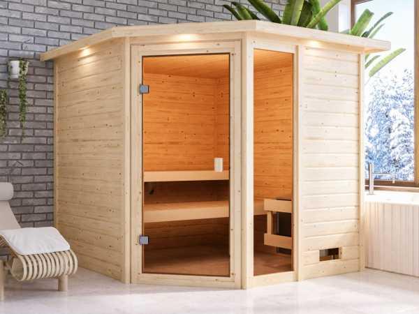 Sauna Tabea mit bronzierter Glastür und Dachkranz + 9 kW Saunaofen integr. Strg.