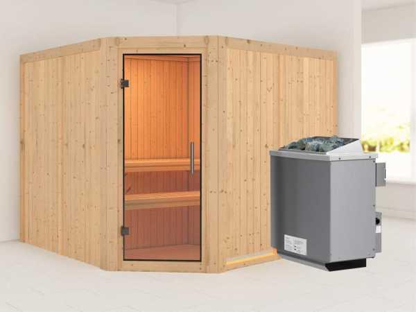 """Sauna Systemsauna """"Farin"""" Klarglas Ganzglastür + 9 kW Saunaofen mit Steuerung"""