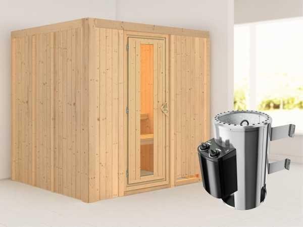 Sauna Systemsauna Daria Energiespartür + Plug & Play Saunaofen mit Steuerung