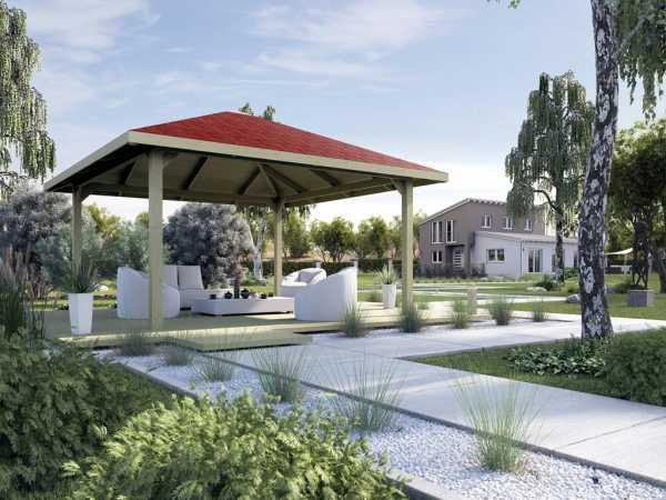 Gartenlaube Pavillon Sparset Gartenoase 651 A Gr. 2, inkl. Dachschindeln rot