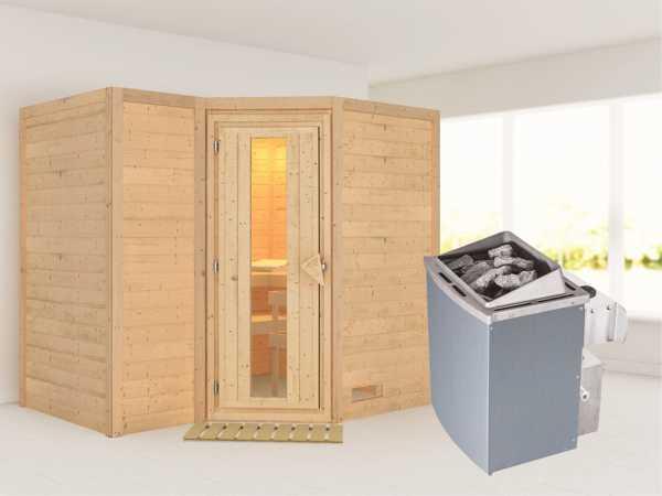 """Massivholzsauna """"Sahib 2"""" Holztür mit Isolierglas, inkl. 9 kW Ofen integr. Steuerung"""