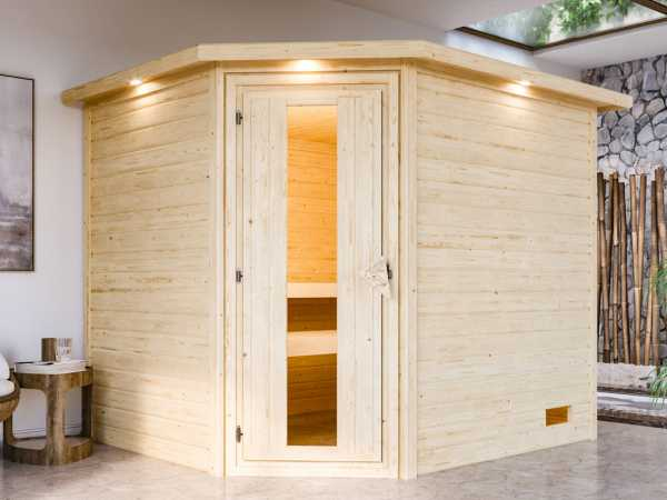 """Sauna """"Lisa"""" mit Energiespartür und Dachkranz,"""