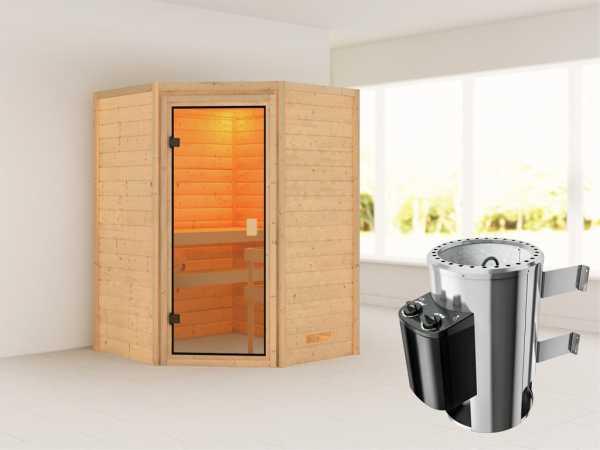 Sauna Antonia mit bronzierter Glastür + 3,6 kW Plug & Play Saunaofen integr. Strg.