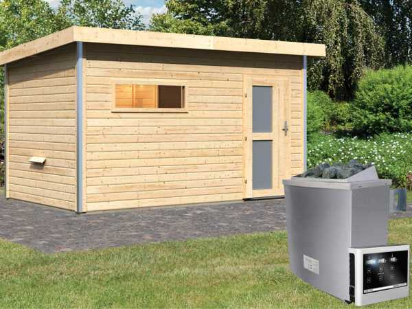 Saunahaus Skrollan 3 mit Milchglastür & Vorraum, inkl. 9 kW Saunaofen mit externer Steuerung