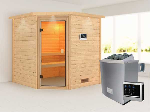 Sauna Massivholzsauna Nina mit Dachkranz, bronzierte Ganzglastür + 9 kW Saunaofen mit ext. Strg