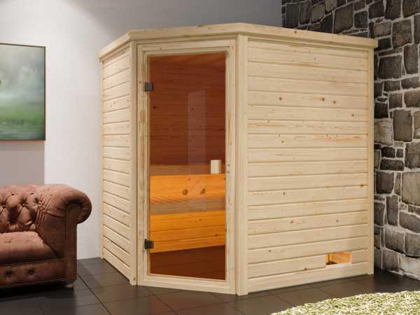 """Sauna Systemsauna """"Valida 4"""" bronzierte Ganzglastür inkl. 9 kW Saunaofen mit ext. Steuerung"""