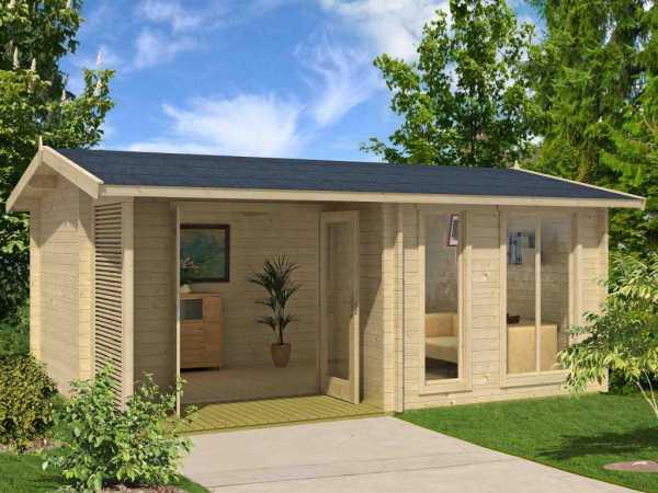 Gartenhaus Blockbohlenhaus Brighton 44 44 mm naturbelassen