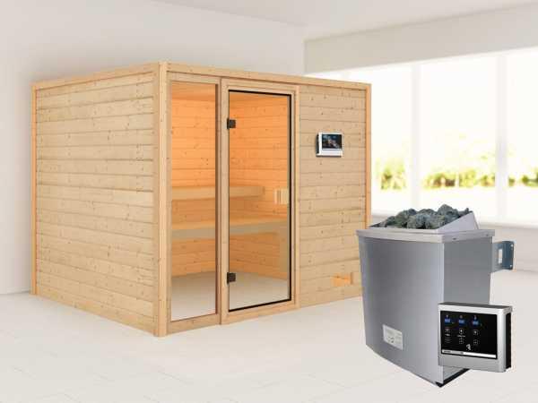 Sauna Kiana mit bronzierter Glastür + 9 kW Saunaofen ext. Strg.