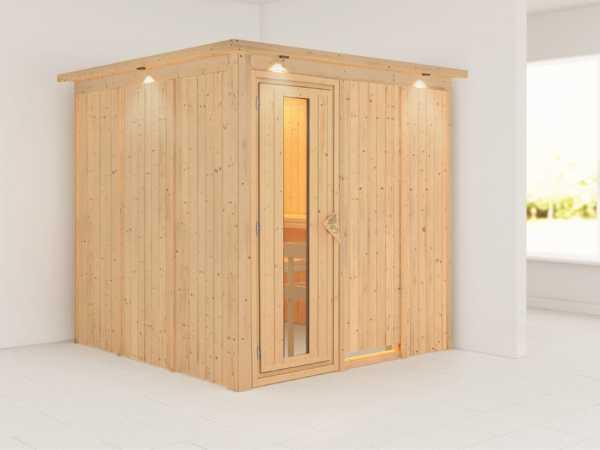 """Systemsauna """"Rodin"""" mit Dachkranz, Holztür mit Isolierglas"""