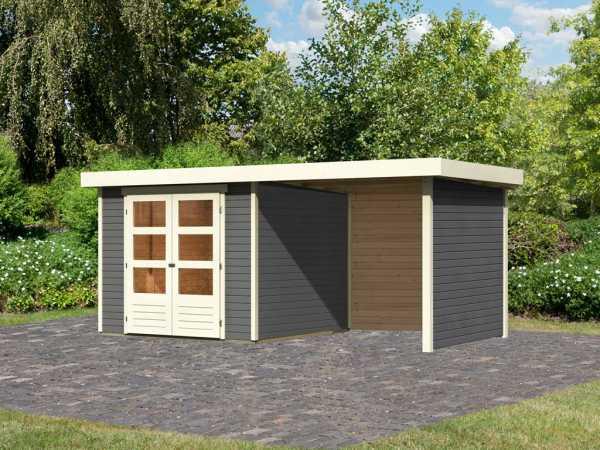 Gartenhaus SET Askola 3,5 19 mm terragrau, inkl. 2,4 m Anbaudach + Seiten- und Rückwand
