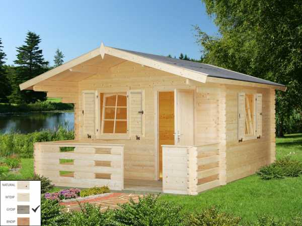 Gartenhaus Blockbohlenhaus Sylvi 10,4+4,2 m² 34 mm grau tauchimprägniert