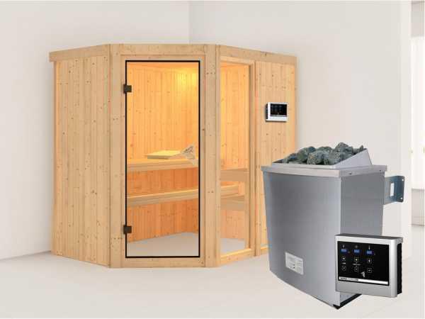 Sauna Systemsauna Fiona 1 inkl. 9 kW Saunaofen ext. Steuerung