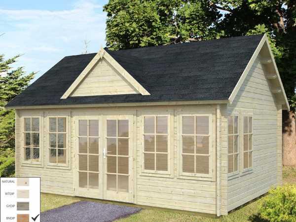 Gartenhaus Blockbohlenhaus Claudia 19,4 m² 44 mm braun tauchimprägniert
