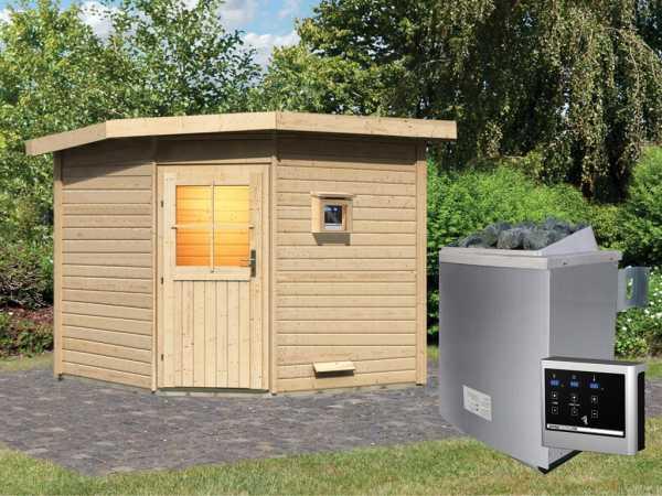 Saunahaus Hilda mit Holztür, inkl. 9 kW Saunaofen mit externer Steuerung