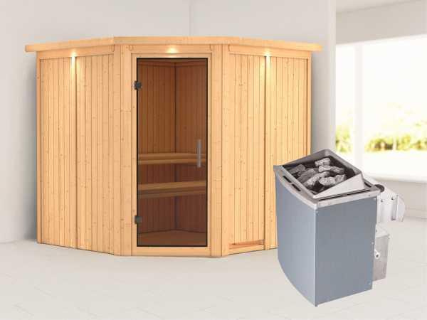 Systemsauna Jarin mit Dachkranz, graphit Ganzglastür, inkl. 9 kW Saunaofen integr. Steuerung