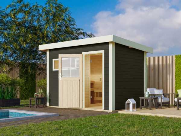 Saunahaus Suva 1 Grau mit Holztür, inkl. 9 kW Ofen mit integrierter Steuerung