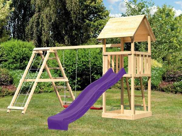 Spielturm Set Lotti naturbelassen inkl. Rutsche violett, Schaukel und Klettergerüst