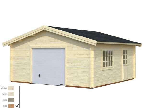 """Garage """"Roger"""" 27,7 m² mit Sektionaltor 70 mm braun tauchimprägniert"""