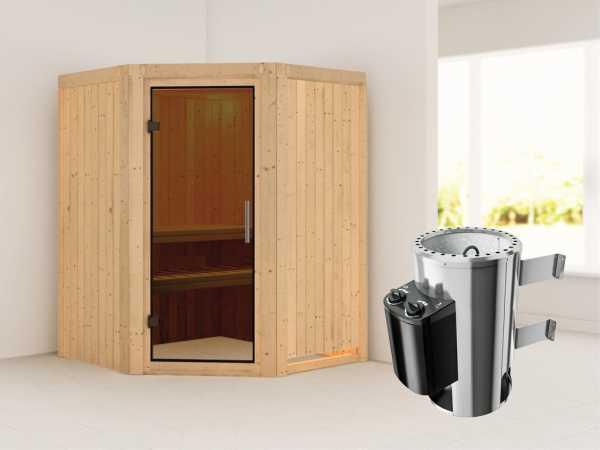 Sauna Systemsauna Nanja graphit Ganzglastür + Plug & Play Saunaofen mit Steuerung