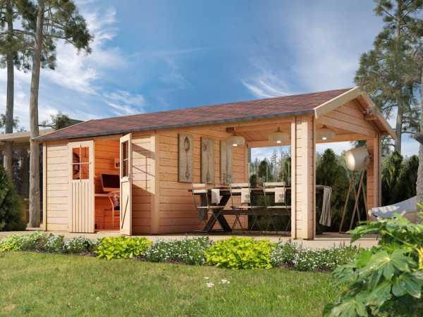 Gartenhaus SET Espelo 7 CLASSIC 28 mm naturbelassen, inkl. 1 Dachausbauelement