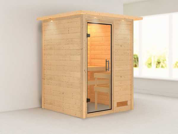 Sauna Massivholzsauna Svenja mit Dachkranz, Klarglas Ganzglastür