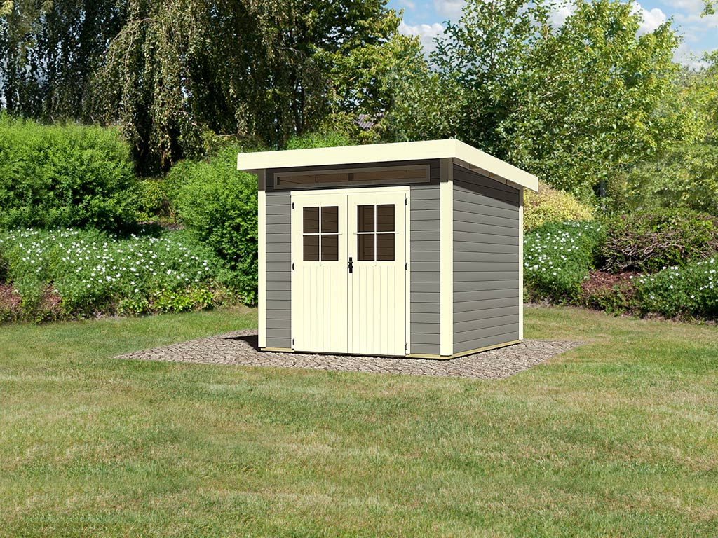 gartenhaus kulpin 3 28 mm terragrau wo0587. Black Bedroom Furniture Sets. Home Design Ideas