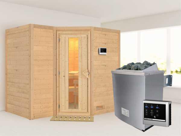 """Massivholzsauna """"Sahib 2"""" Holztür mit Isolierglas, inkl. 9 kW Ofen ext. Steuerung"""