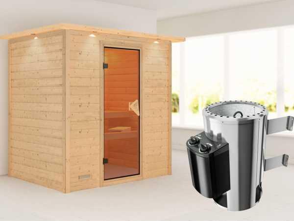 Sauna Massivholzsauna Ronja mit Dachkranz, inkl. Plug & Play Saunaofen Steuerung