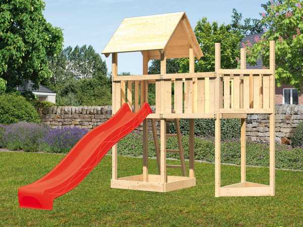 Spielturm SET Lotti naturbelassen inkl. Rutsche rot + Anbauplattform + Schiffsanbau oben