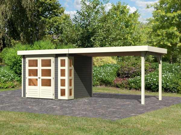 Gartenhaus SET Kerko 3 19 mm terragrau, inkl. 2,8 m Anbaudach