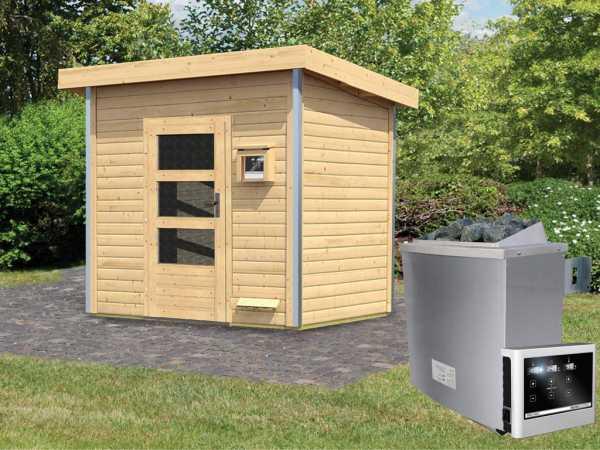 Saunahaus Kroge mit Klarglastür, inkl. 9 kW Saunaofen mit externer Steuerung