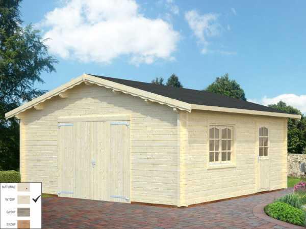 Garage Roger 27,7 m² mit Holztor 70 mm transparent tauchimprägniert