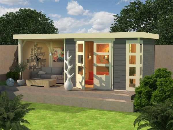 Gartenhaus SET Kerko 5 19 mm terragrau, inkl. 2,4 m Anbaudach + Seiten- und Rückwand