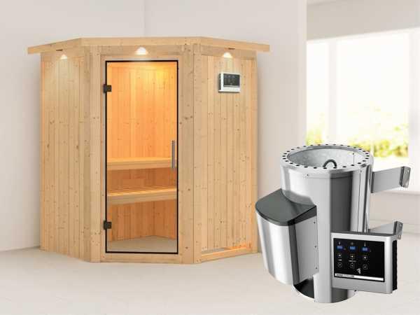 Sauna Systemsauna Nanja mit Dachkranz, Klarglas Ganzglastür + Plug & Play Saunaofen mit ext. Strg