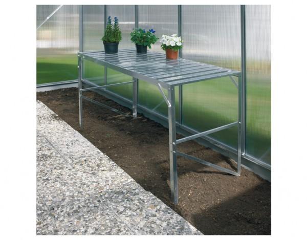 Gewächshaus Zubehör Aluminium-Tisch mit 1 Ebene, Aluminium-blank eloxiert