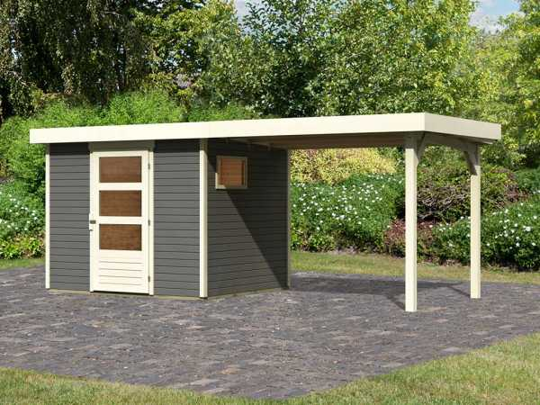 Gartenhaus SET Oburg 3 19 mm terragrau, inkl. 2,8 m Anbaudach