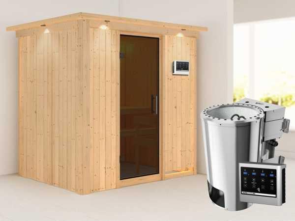 Sauna Systemsauna Fanja mit Dachkranz, graphit Ganzglastür + Plug & Play Bio-Ofen mit ext. Strg.