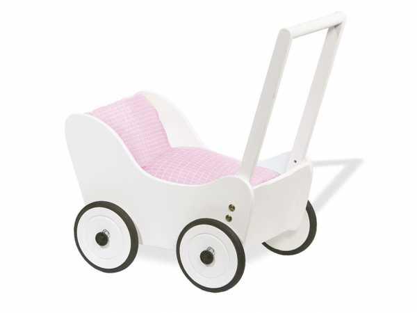 """Puppenwagen """"Maria"""" Buche, weiß lackiert"""