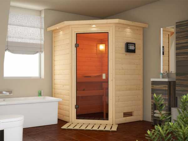Sauna Massivholzsauna SPARSET Stefanie inkl. Plug & Play Ofen mit ext. Steuerung + Zubehör