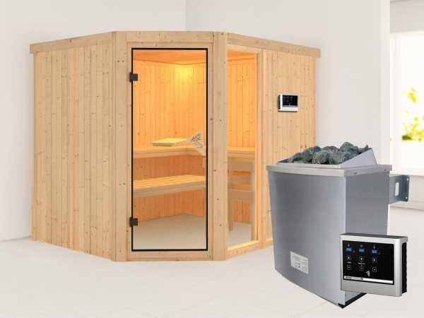 """Sauna Systemsauna SPARSET """"Akoya"""" inkl. 9 kW Saunaofen mit ext. Steuerung, bronzierte Glastür"""