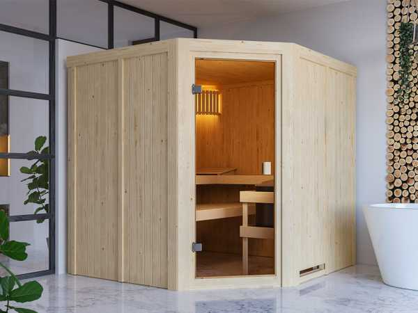 Sauna Systemsauna SPARSET Celine 3 inkl. 6,8 kW Ofen mit ext. Steuerung