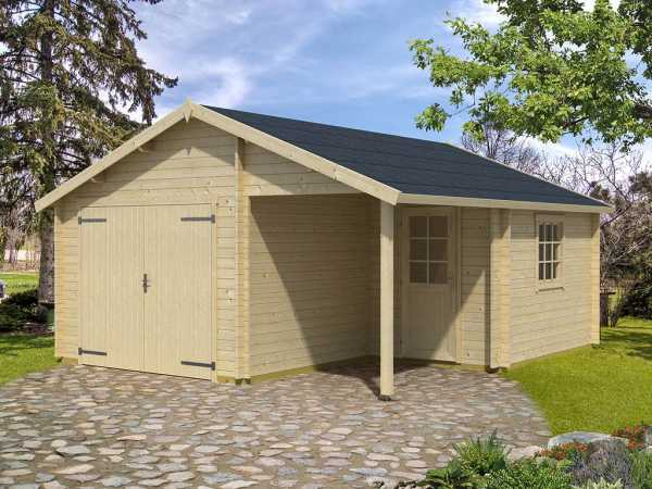 Garage Nevis inkl. Holztor 44 mm naturbelassen