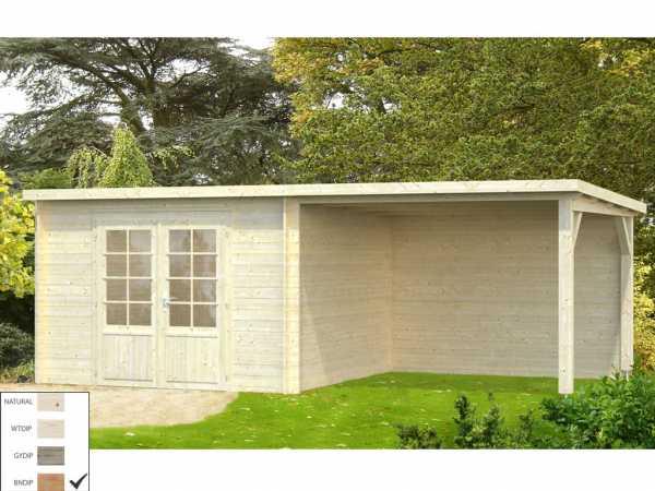 """Gartenhaus Blockbohlenhaus """"Ella"""" 8,7+8,2 m² 28 mm braun tauchimprägniert"""